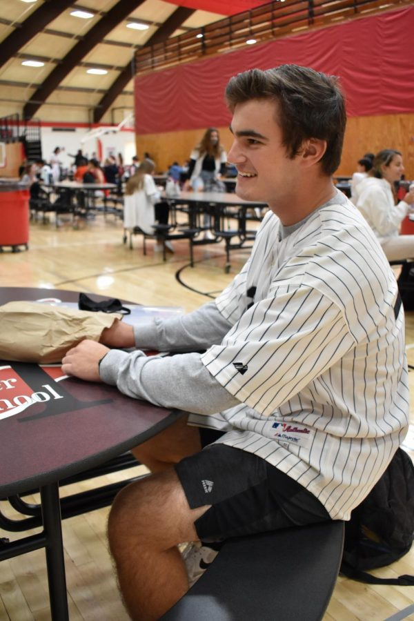 GAME DAY Blake Siurek, junior, wears Sox jersey for jersey day