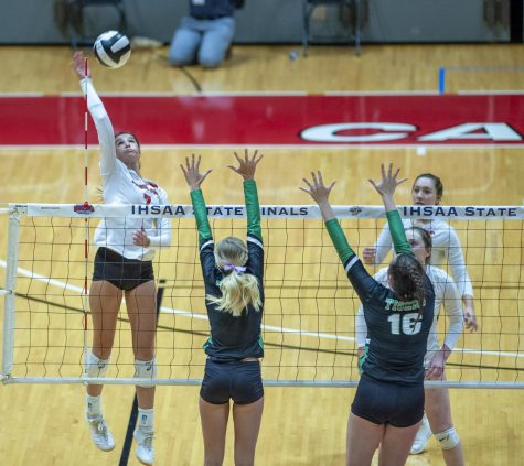 "SPIKE IT At the state meet at Ball State university, Haley Melby,  junior, spikes the ball over the net. ""We never stopped fighting and we made a name for ourselves in the state,"" Haley Melby, junior, said.  ""We proved that we belonged and that we are a big threat."""