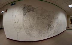 An extreme wide-angle view of the Art Club's mural in progress