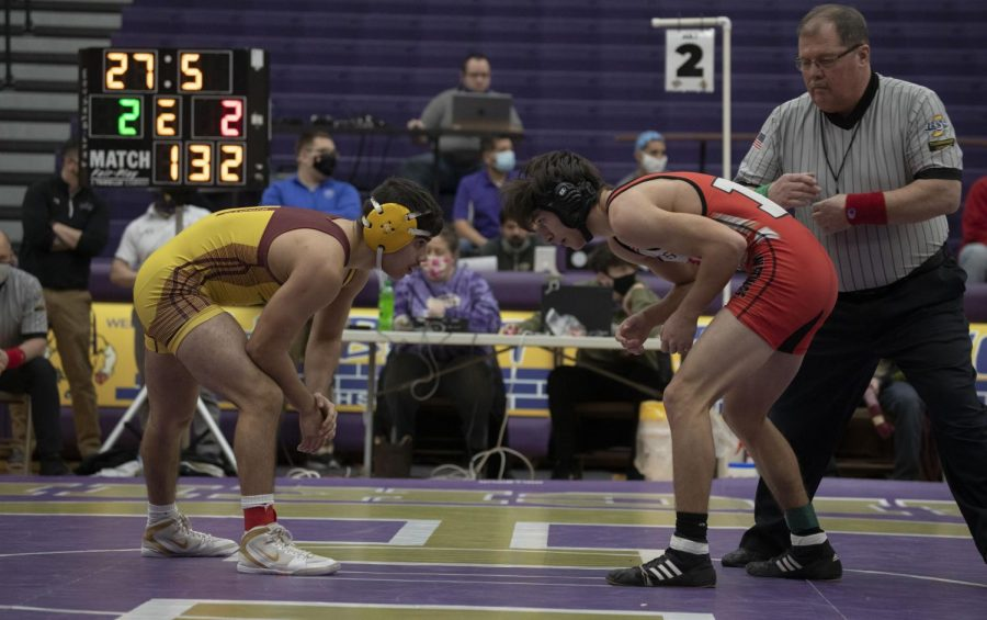 "MAT TO SEMI-STATE At Hobart High School Munster wrestler, junior Gabe Tienstra faces opponent for spot in semi-state tournament ""I have trained this whole season for this moment i have faced this opponent twice before and I'm confident in my moves but I always have to stay assertive and tactical "" Tienstra said."