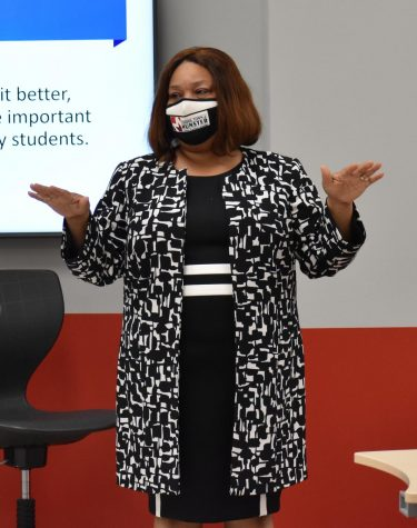 """Dr. Yvonne Stokes, assistant superintendent of curriculum and instruction, attends the first Minority Committee Meeting. """"The willingness of our staff, students, and our community members to have some of those courageous and difficult conversations around race and equality (has impacted me the most)."""""""