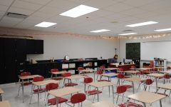 """READ THE ROOM Sitting in his newly renovated classroom, Mr. Steve Stepnoski, English teacher, works after the last school bell. """"I think that (the room) is just going to be reflective of the school year,"""" Mr. Steve Stepnoski, English teacher said."""